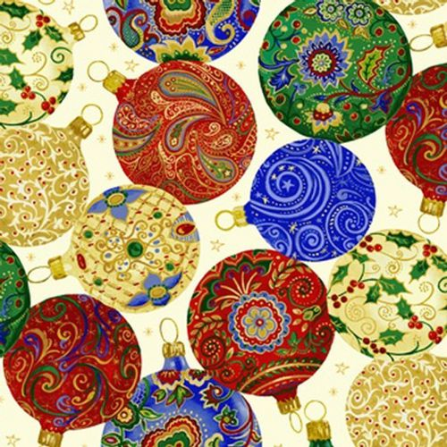 Blank Quilting Christmas Baubles Multicoloured Fabric